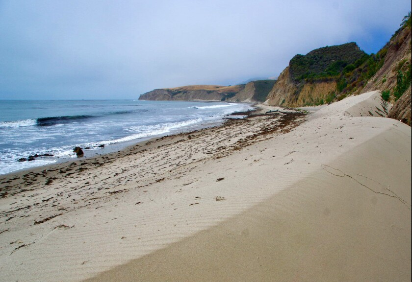 Sand dunes along Cuarto Beach, a surfer's paradise on the Hollister Ranch coastline.