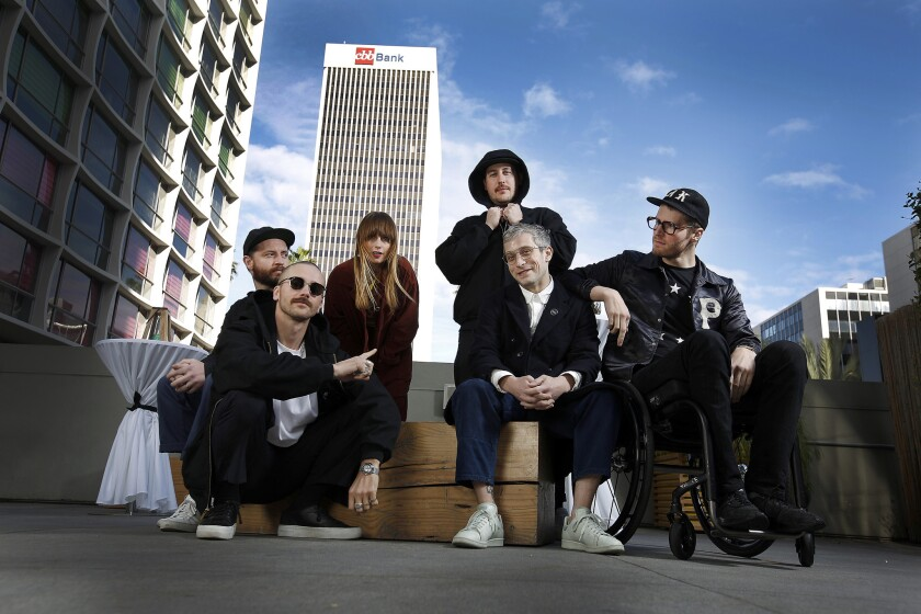 The members of Portugal. the Man are, from left, lead singer John Gourley; drummer Jason Seachrist; singer Zoe Manville; bassist Zach Carothers; keyboardist Lyle O'Quin; and guitarist Eric Howk.