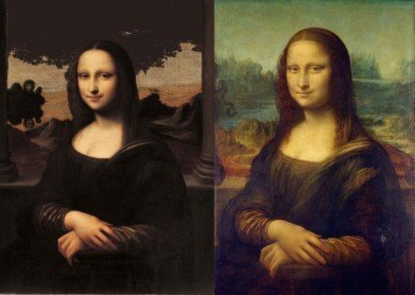 Art experts say Italian Renaissance painter Leonardo da Vinci created the Isleworth Mona Lisa (left) around 1503, 10 years before he painted the Mona Lisa on display at the Louvre Museum in Paris (right).