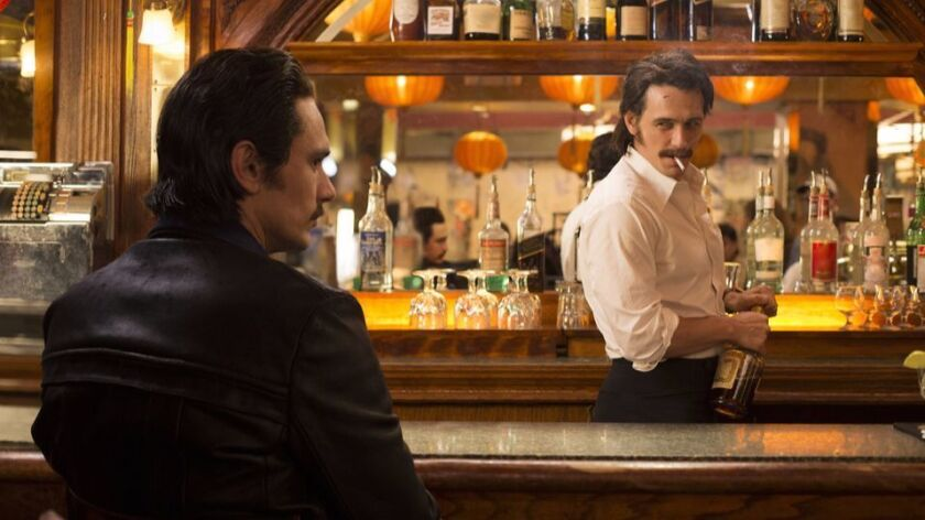 "This image released by HBO shows James Franco portraying twins Vincent and Frankie Martino in, ""The"