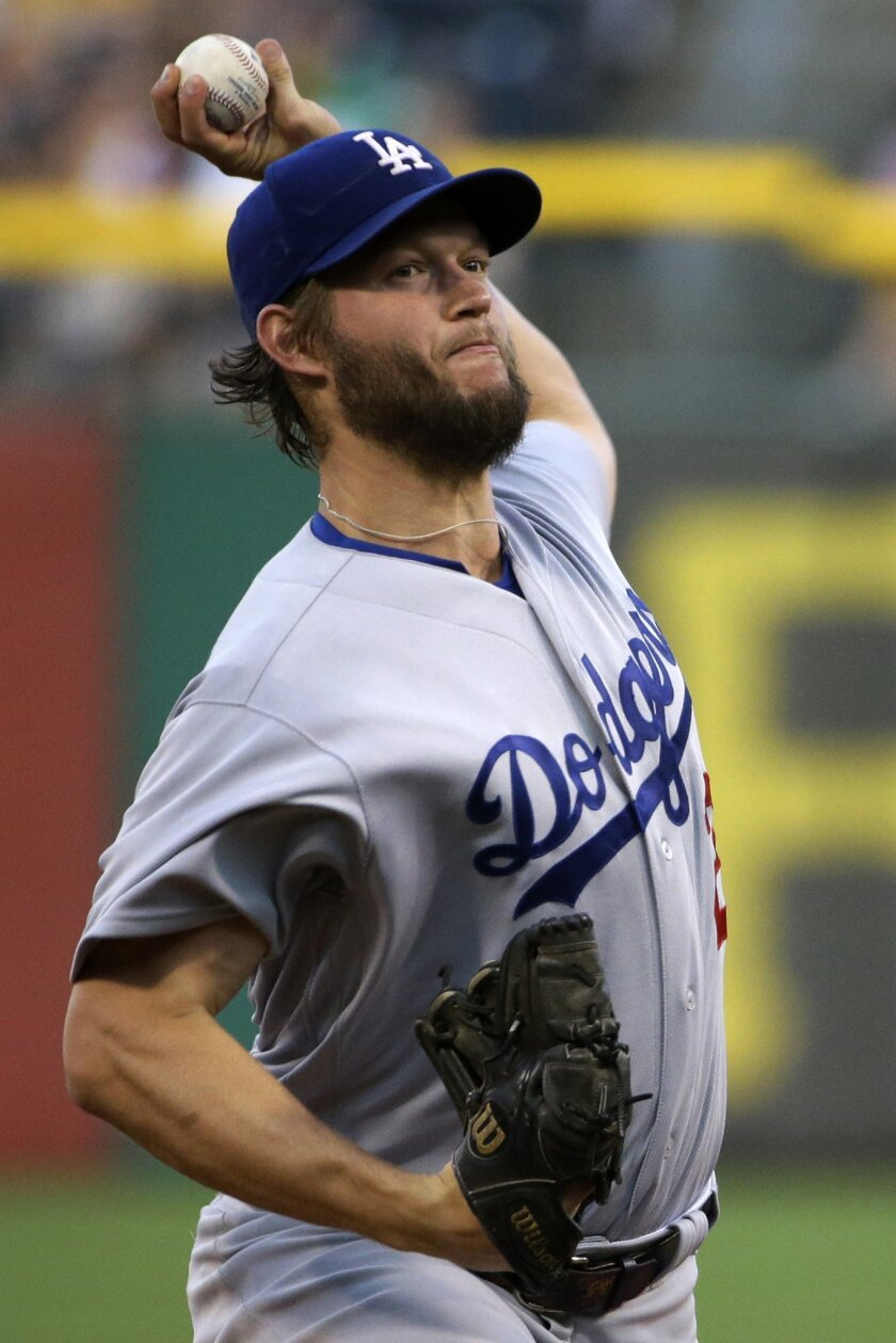 Los Angeles Dodgers starting pitcher Clayton Kershaw delivers in the first inning of a baseball game against the Pittsburgh Pirates in Pittsburgh, Sunday, June 26, 2016. (AP Photo/Gene J. Puskar)