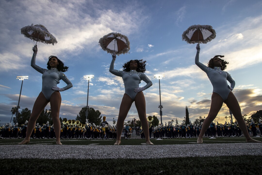 The Southern University Band plays on the field at Bandfest at Pasadena City College.