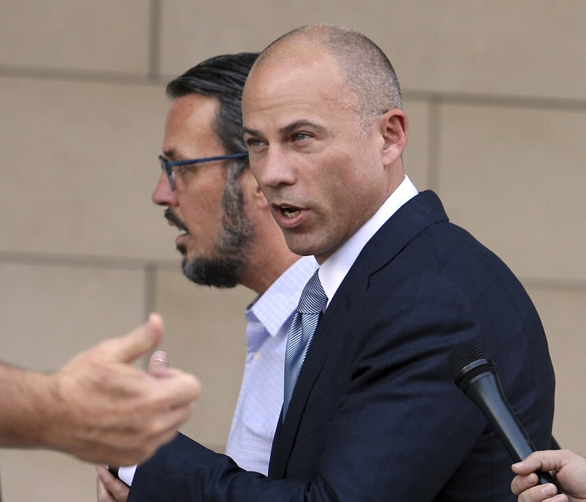 President Trump and Michael Avenatti (pictured) are battling it out over Twitter.