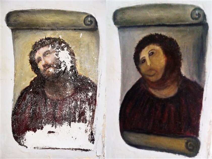 FILE - In this combination of two undated handout photos made available by the Centro de Estudios Borjanos, the 20th century Ecce Homo-style fresco of Christ , left and the 'restored' version, at right. A year ago, a botched restoration of a fresco of Christ by an 80-year-old Spanish pensioner drew mocking laughter. Now, the artist Cecilia Gimenez has the last laugh. Officials in Borja, a town of 5,000 people in northeastern Spain, said Tuesday Aug.13. 2013, the fresco has drawn more than 40,00