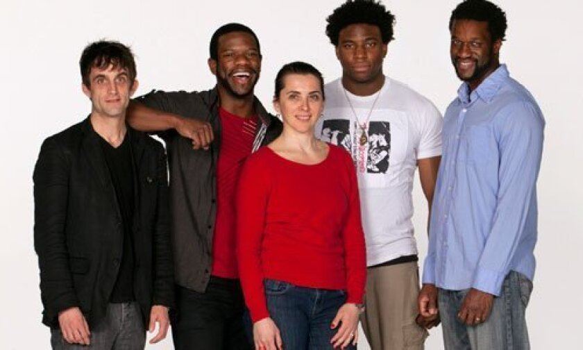 Composer/percussionist Jonathan Melville Pratt (far left) and director Tea Alagic (center) with the cast of 'The Brothers Size': (from left) Antwayn Hopper, Okieriete Onaodowan and Gilbert Owuor. Photo/Henry DiRocco