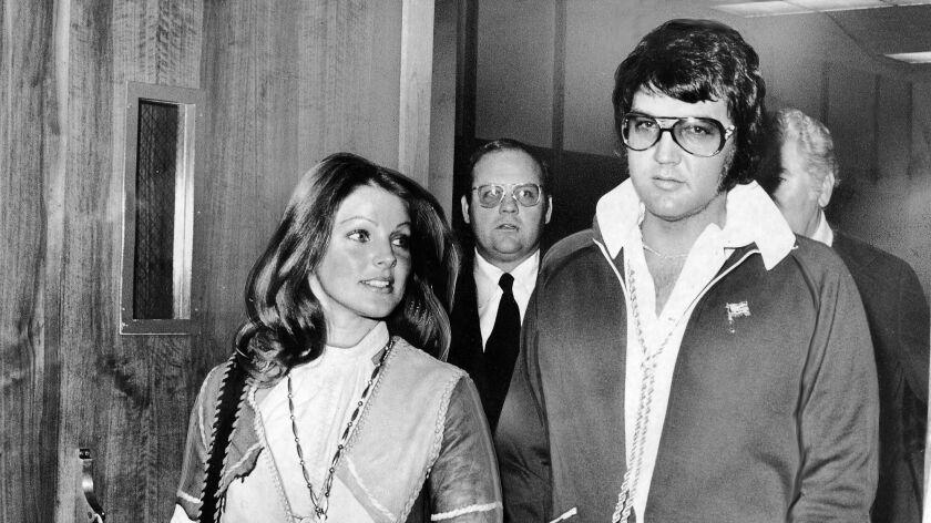 Elvis and Priscilla Presley are pictured in Santa Monica in 1973.
