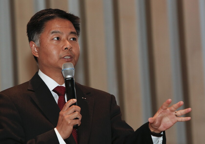 Ted Lieu speaks during a candidates forum to succeed District 33 Representative Henry Waxman at Temple Emmanuel in Beverly Hills.