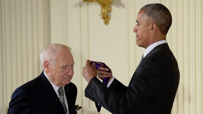President Barack Obama presents Mel Brooks with the 2015 National Medal of Arts on Sept. 22, 2016.