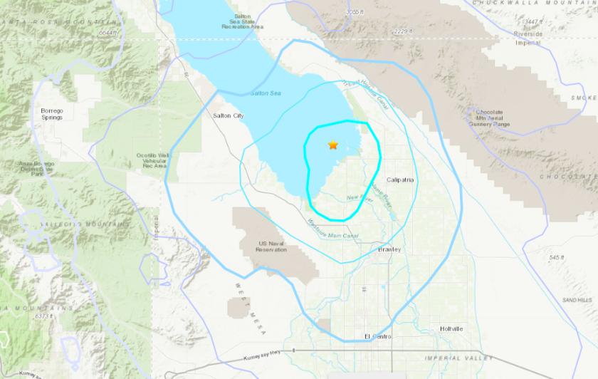 El viernes se produjo un terremoto de magnitud 4.6 cerca de Salton Sea