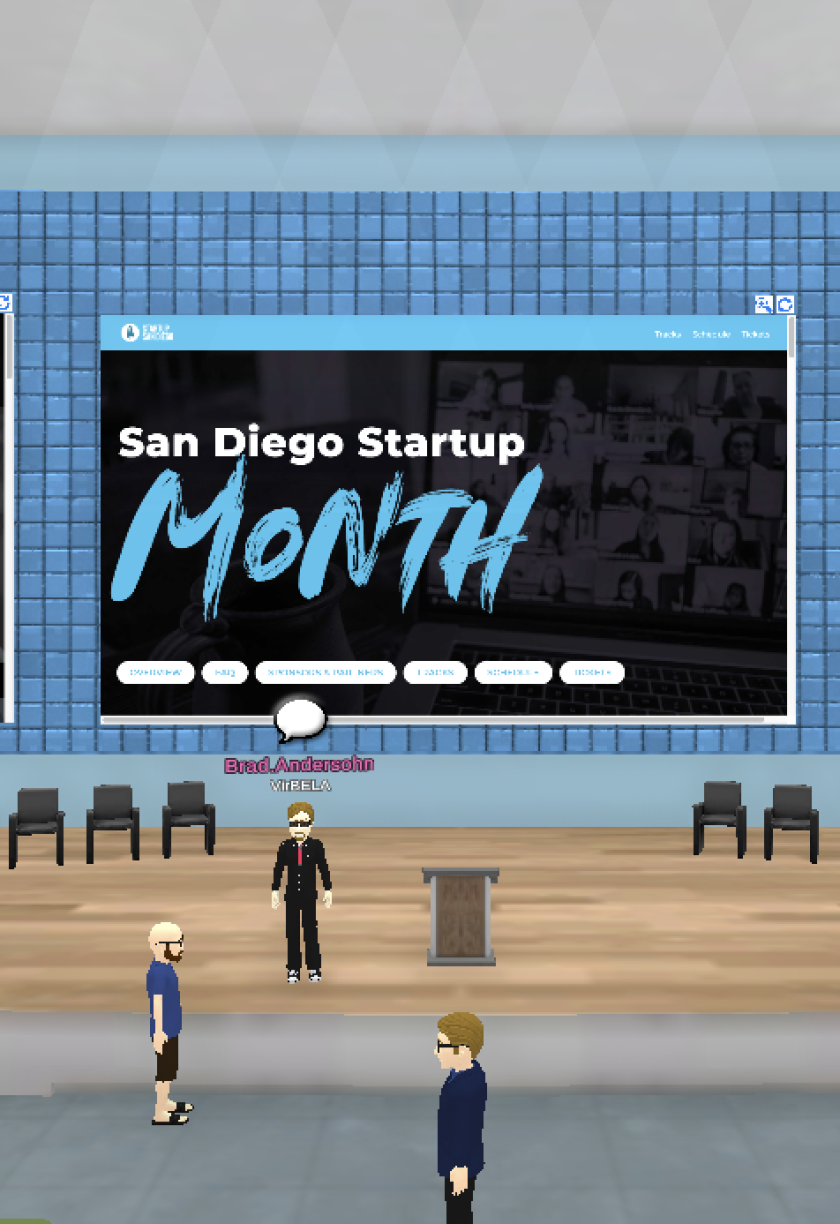 Startup San Diego is using software made by VirBELA to create a virtual playground for attendees.