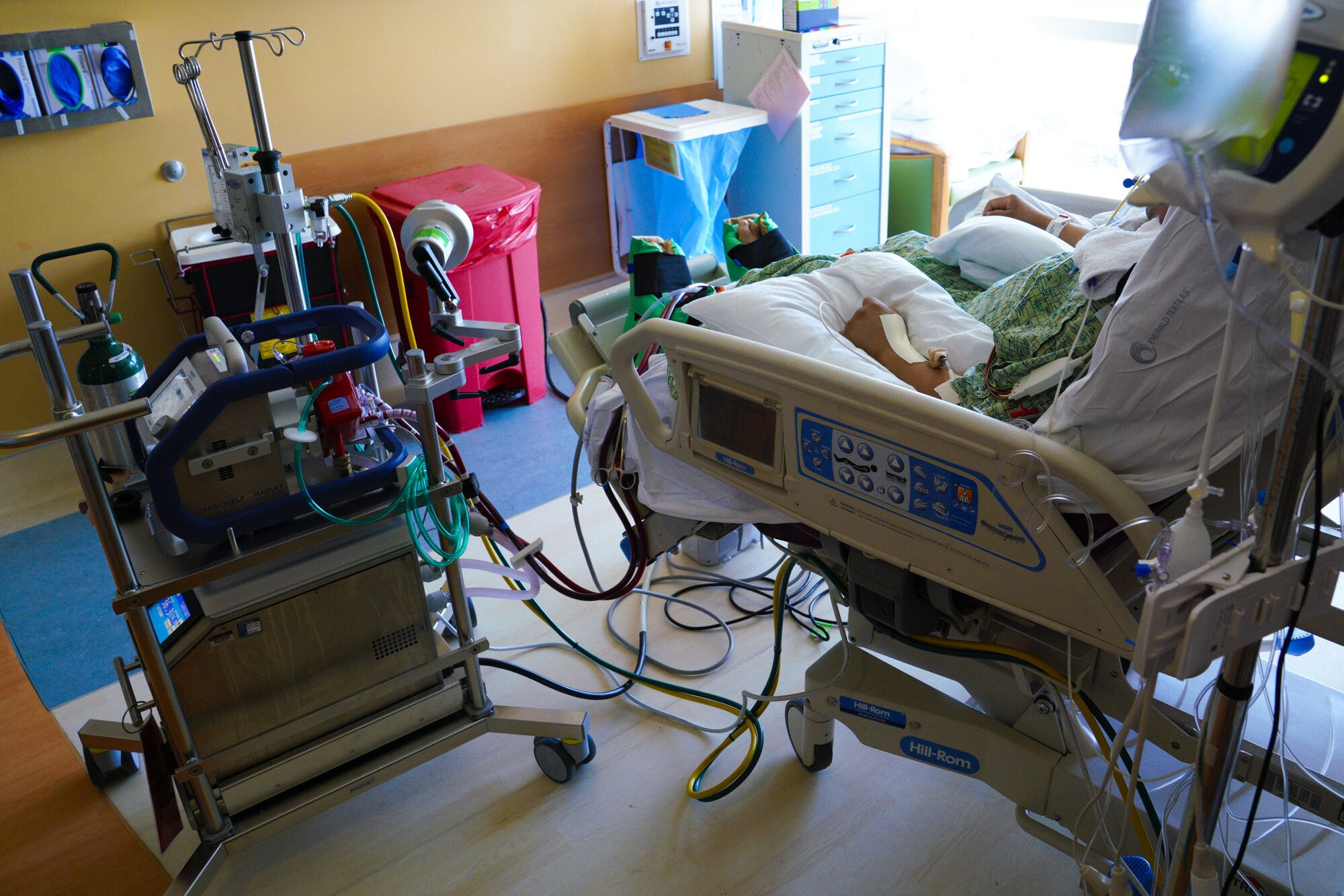 At Scripps Memorial Hospital La Jolla, a COVID patient on ECMO (extracorporeal membrane oxygenation).