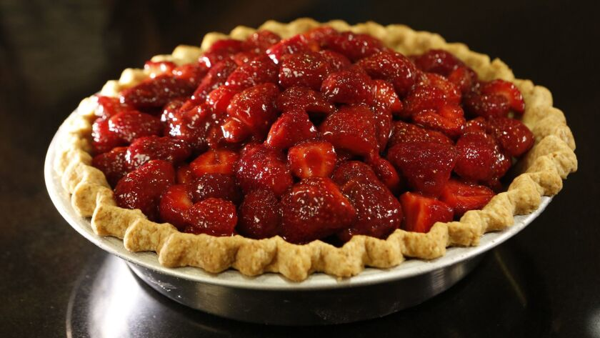 LOS ANGELES, CA. - JUNE 25, 2015: Strawberry pie made by Pastry chef Roxana Jullapat shot in the Lo