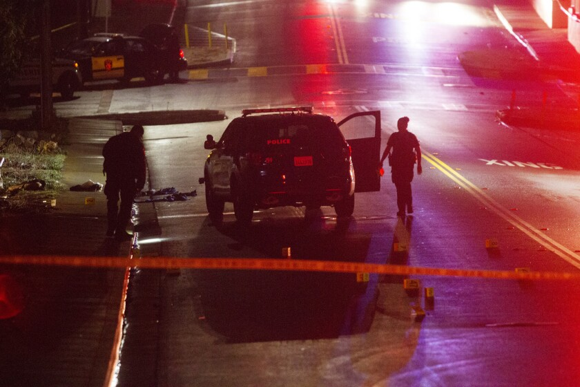 A file photo from 2016 shows Vallejo police officers working at the scene of a police shooting.