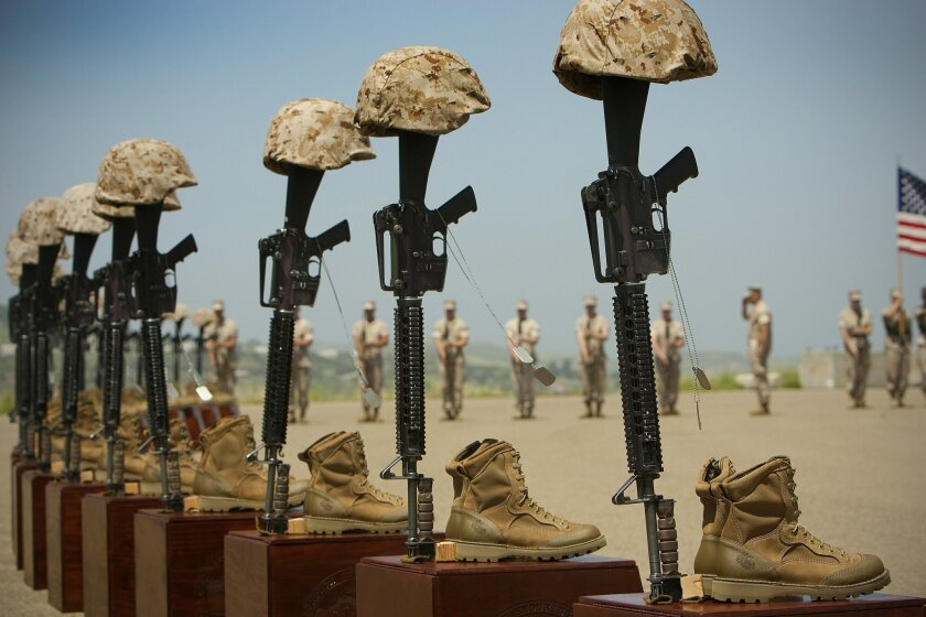 Twenty-five battle crosses were set up at a ceremony at Camp Pendleton to represent Marines from 3rd Battalion, 5th Marine Regiment killed in action while deployed to Sangin, Afghanistan.