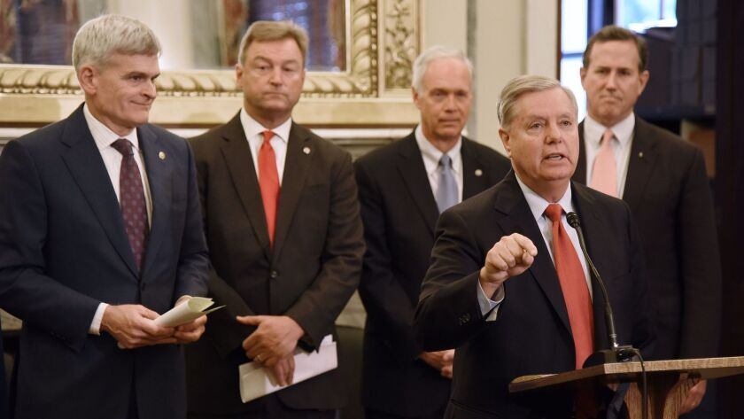 GOP proposals to repeal Obamacare included expanding health savings accounts, including a plan offered last month by, from left, Sens. Bill Cassidy (R-La.), Dean Heller (R-Nev.), Ron Johnson (R-Wis.) and Lindsey Graham (R-S.C.); and former Sen. Rick Santorum (R-Pa.).