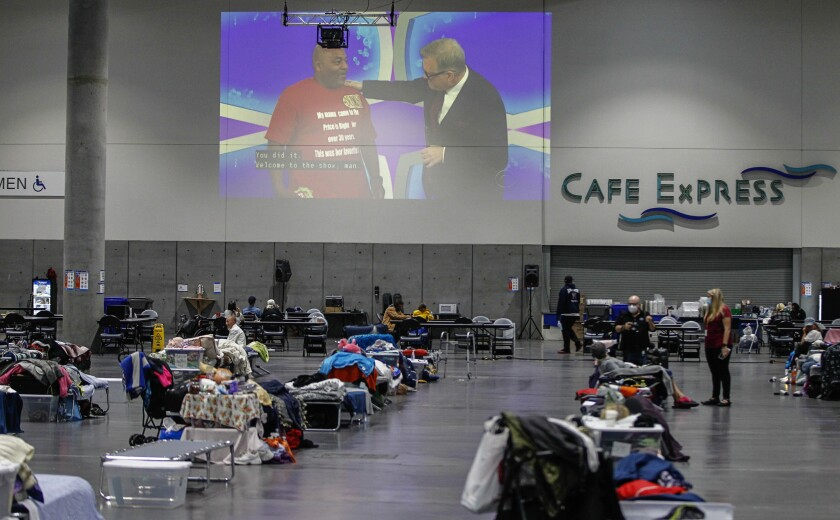 The San Diego Convention Center's homeless shelter.