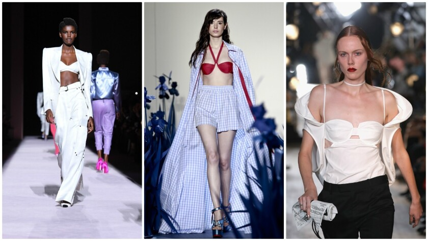 Takes on the bra top by Tom Ford, from left, Adam Selman and Helmut Lang as Seen by Shayne Oliver.