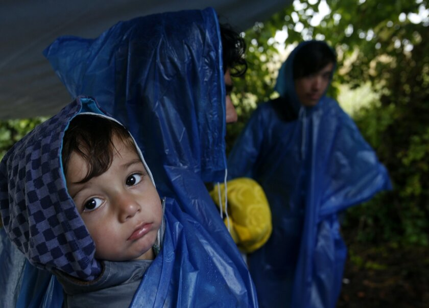 A group of migrants walk to a border line between Serbia and Croatia, near the village of Berkasovo, about 100 km west from Belgrade, Serbia, Tuesday, Sept. 29, 2015. Asylum seekers are slogging through rain and mud-caked roads in Croatia, as autumnal conditions worsen on their journeys to seek sanctuary in richer European countries. (AP Photo/Darko Vojinovic)