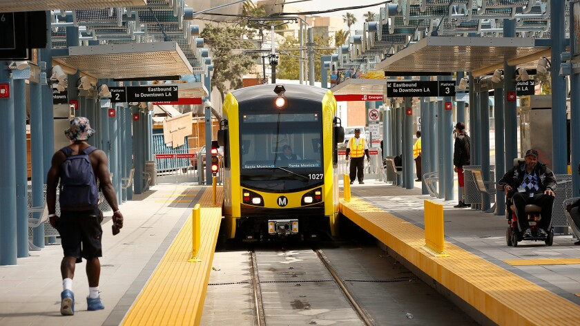 An Expo Line train pulls into the Metro station in downtown Santa Monica on a recent Monday.