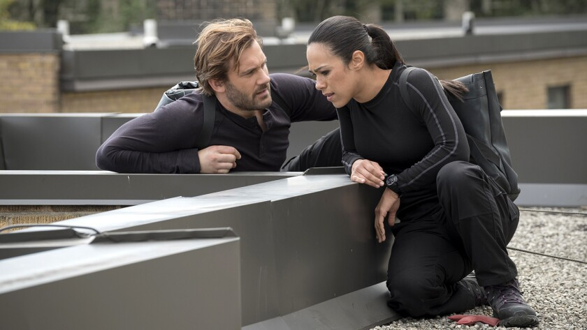 "Bryan and Santana (Clive Standen, Jessica Camacho) are on a rescue mission in a new episode of ""Taken"" on NBC."