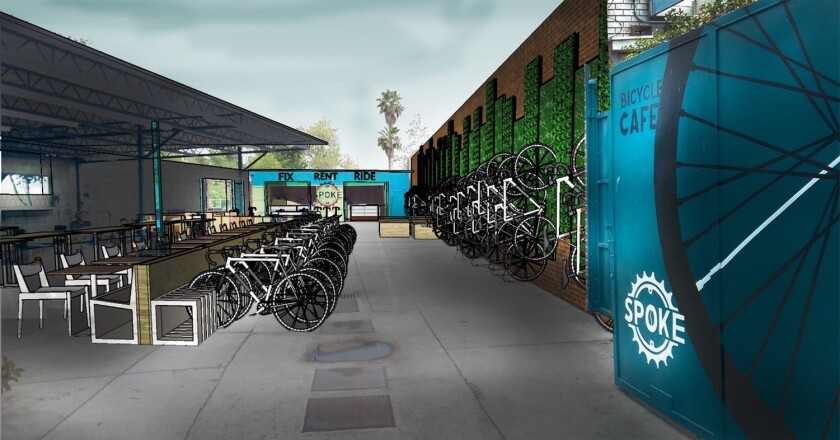 A rendering of Spoke Bicycle Cafe, a full-service restaurant, microbrewery and bike shop, shows the Frogtown location.