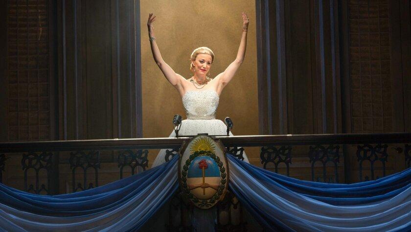 "Caroline Bowman as Eva Peron in the touring production of Broadway's ""Evita."""