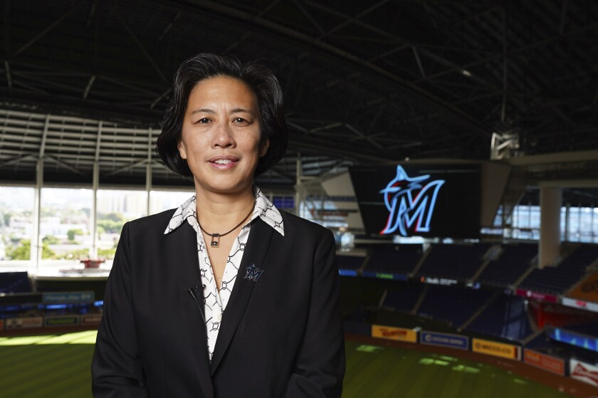 New Miami Marlins general manager Kim Ng at Marlins Park before being introduced during a virtual news conference.