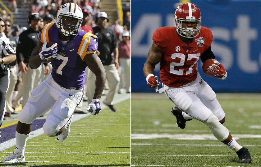 FILE - At left, in an Oct. 10, 2015, file photo, LSU running back Leonard Fournette (7) runs against South Carolina during the first half of an NCAA college football game in Baton Rouge, La. At right, in a Jan. 1, 2015, file photo, Alabama running back Derrick Henry (27) carries the ball for a firs