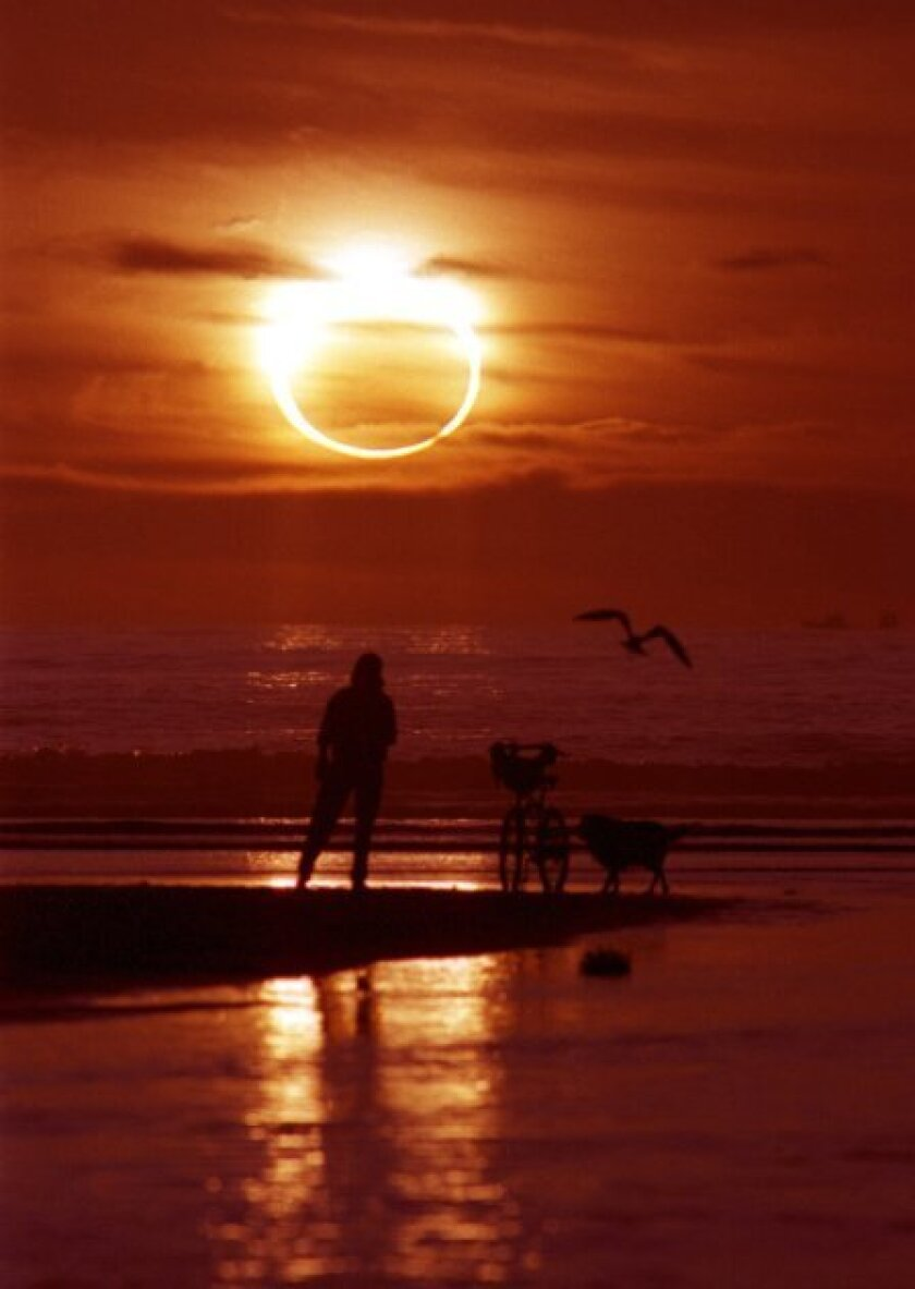 When the eclipse reaches its peak, 83 percent of the sun will be shrouded.  This is the January 4, 1992 annular eclipse at sunset in San Diego. During this eclipse, the whole moon passed directly in front of the setting sun when viewed here.