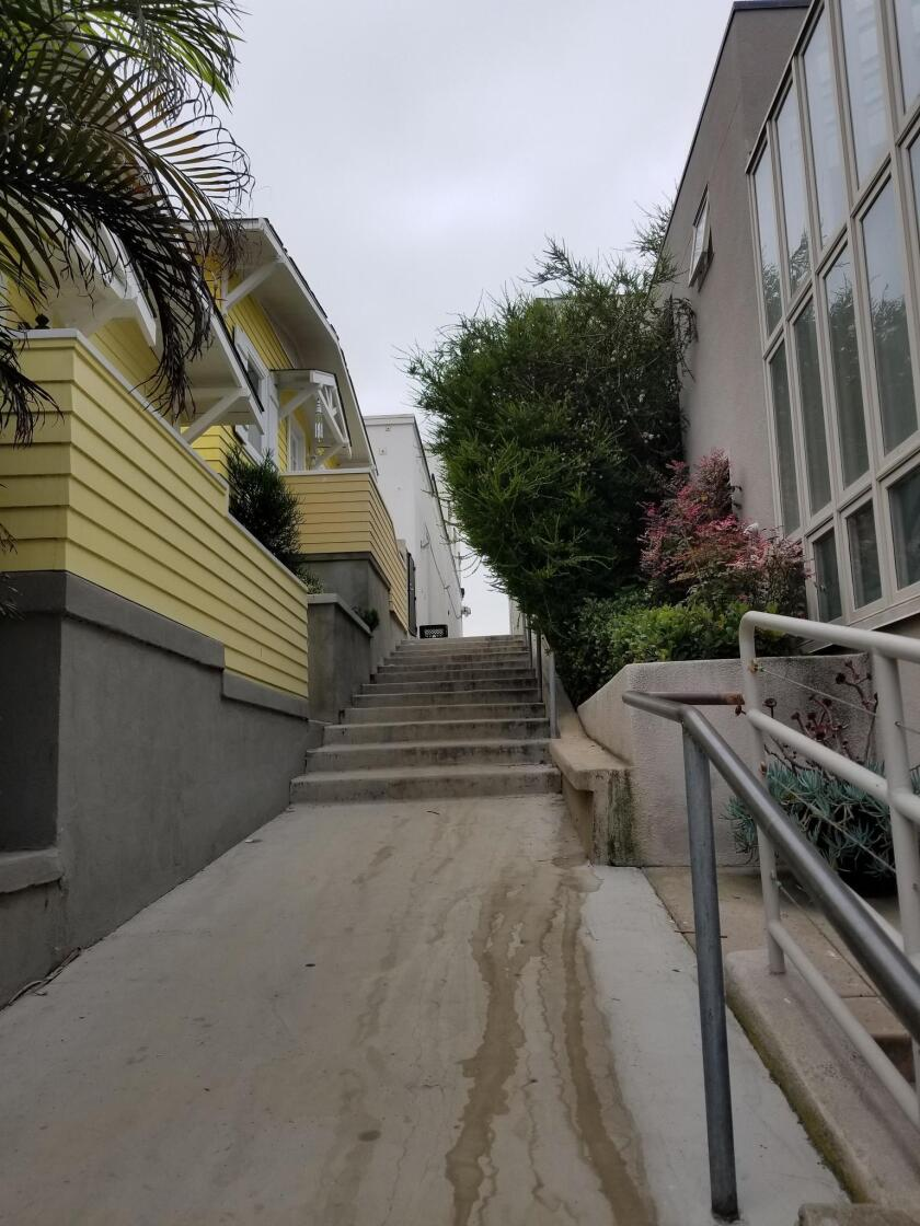Greenery poses pedestrian danger: At the stairs to Prospect Street on Ocean Walk in La Jolla, the tree (or huge bush) is clearly obstructing the walkway and it covers the safety rail that people of all ages grasp to avoid falling.