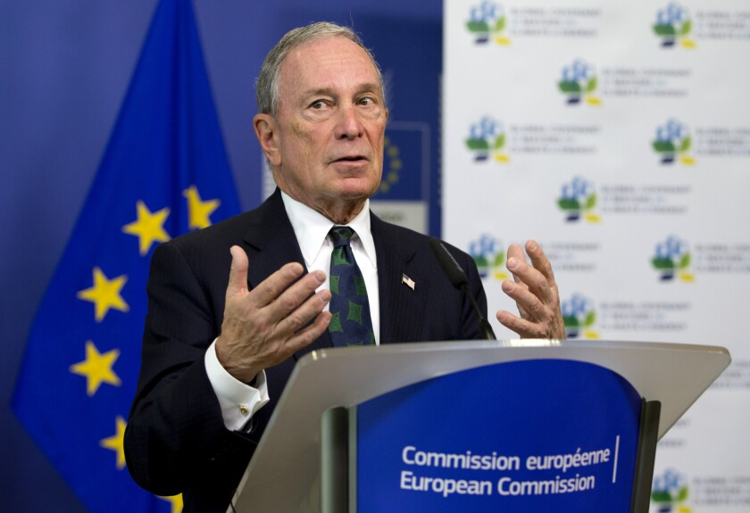 Michael Bloomberg speaks during a media conference at EU headquarters in Brussels on June 22, 2016.
