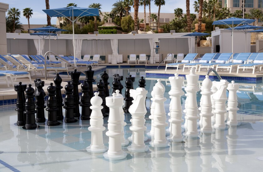 Delano Beach Club comes stocked with a chess board and hammocks