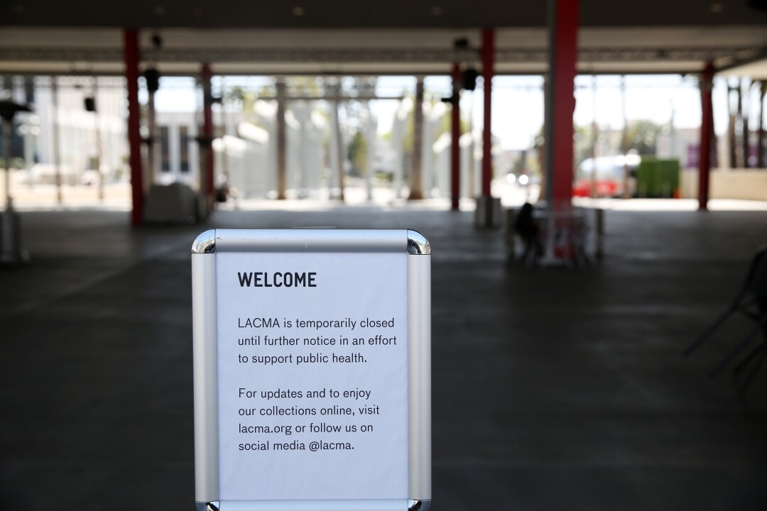 A deserted LACMA on March 30, closed to help prevent the spread of the coronavirus.
