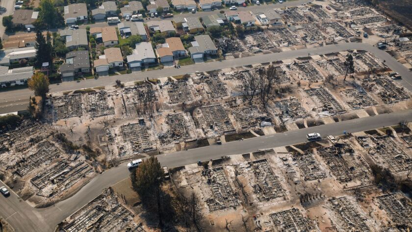 SANTA ROSA, CALIF. -- WEDNESDAY, OCTOBER 11, 2017: Some houses burned and some did not. Aerial view