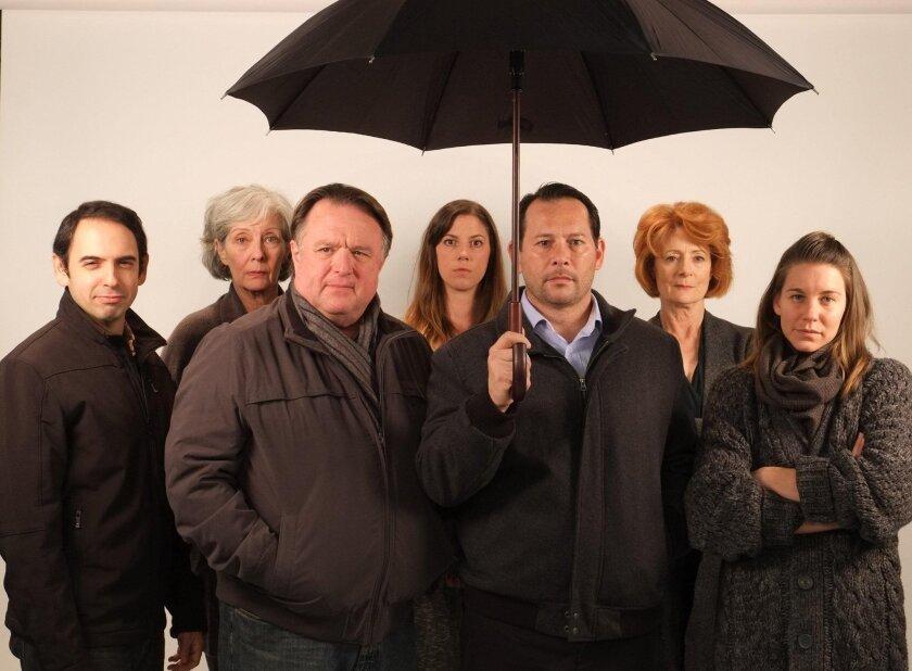 "The cast of the Cygnet Theater's ""When the Rain Stops Falling,"" from left: Francisco Rodriguez, Cristina Soria, Tom Stephenson. Beth Gallagher, Adrian Alita, Rosina Reynolds and Rachael VanWormer. Nil Noyan photo"