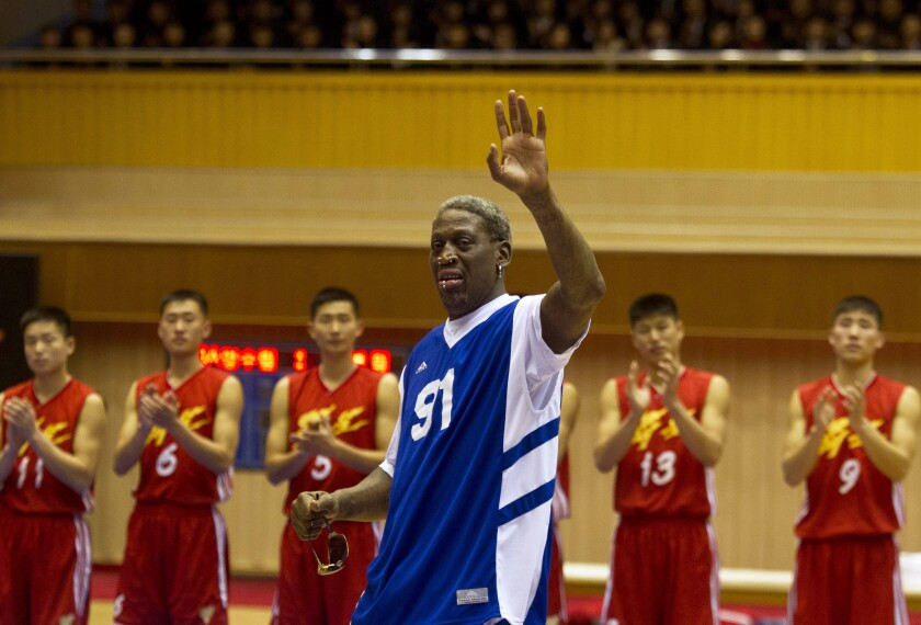 """Dennis Rodman, shown in North Korea in January as part of his """"basketball diplomacy,"""" has reportedly inspired a film for 20th Century Fox."""