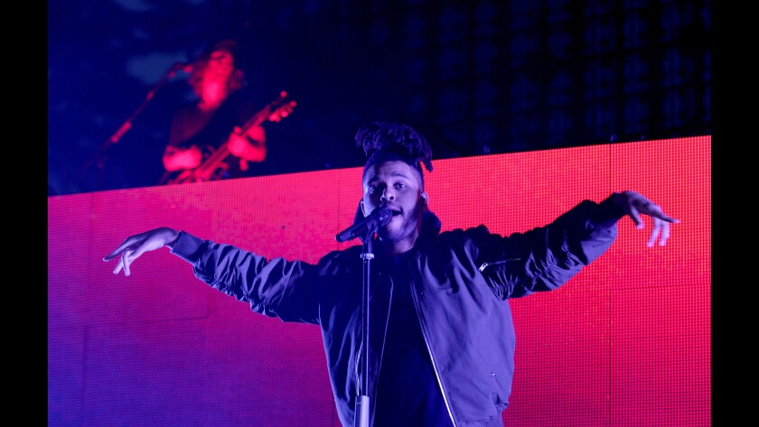 The Weeknd performs Saturday during Hard Summer at the Fairplex in Pomona.