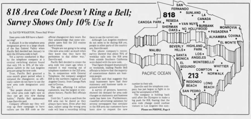 "A 1984 L.A. Times article, headlined: ""818 Area Code Doesn't Ring a Bell; Survey Shows Only 10% Use It"""