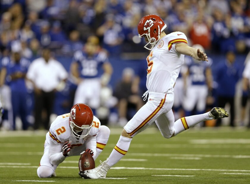 "FILE - In this Jan. 4, 2014, file photo, Kansas City Chiefs' Ryan Succop (6) kicks 42-yard field goal against the Indianapolis Colts during the second half of an NFL wild-card playoff football game in Indianapolis. Veteran kicker Succop has agreed to a one-year deal with the Tennessee Titans who chose to go with experience rather than an undrafted rookie. Agent Joel Turner said Monday, Sept. 1, 2014, that Succop is happy with a ""very good opportunity in a fine organization."" (AP Photo/Michael Conroy)"