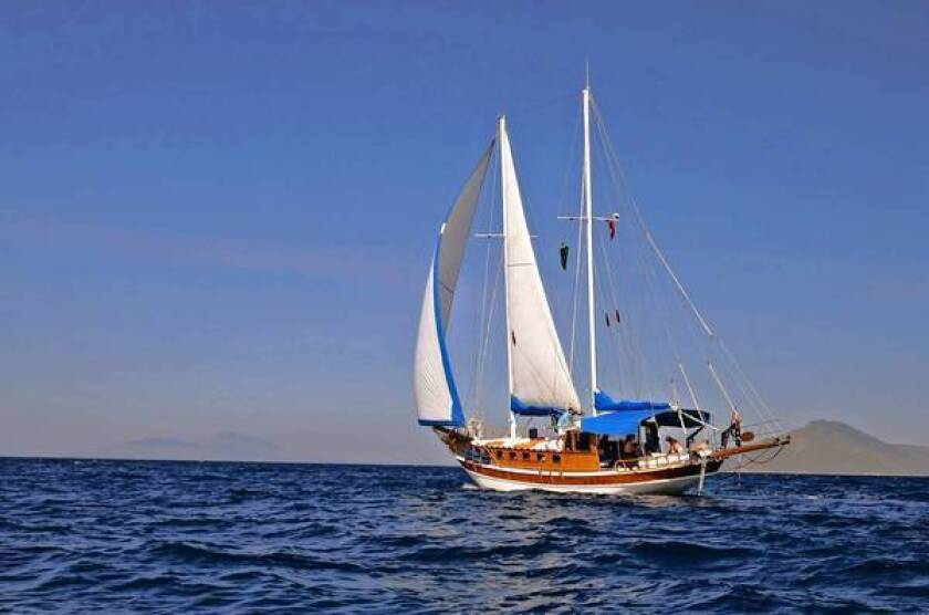 The 62-foot gulet, Timer, catches the wind on its cruise of Greece's Dodecanese Islands. The boats allow access to even the smallest islands.