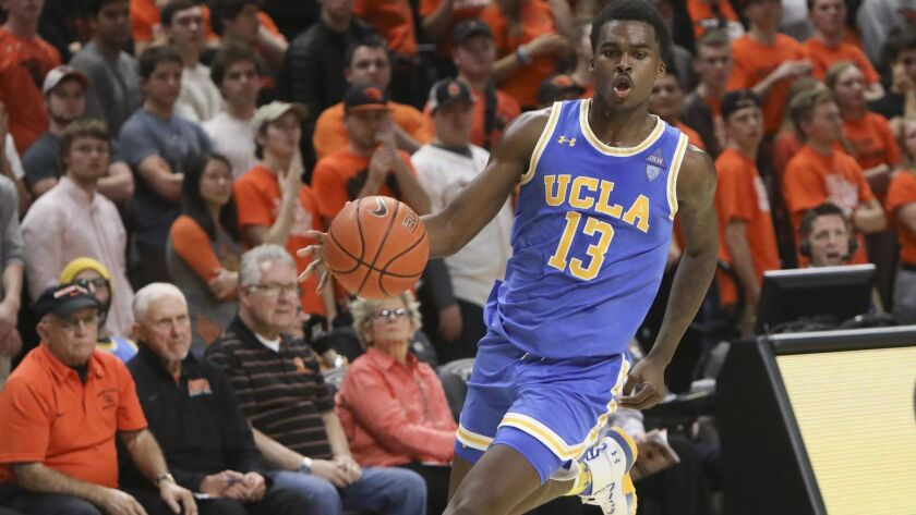 UCLA's Kris Wilkes plays during the second half of an NCAA college basketball game against Oregon St
