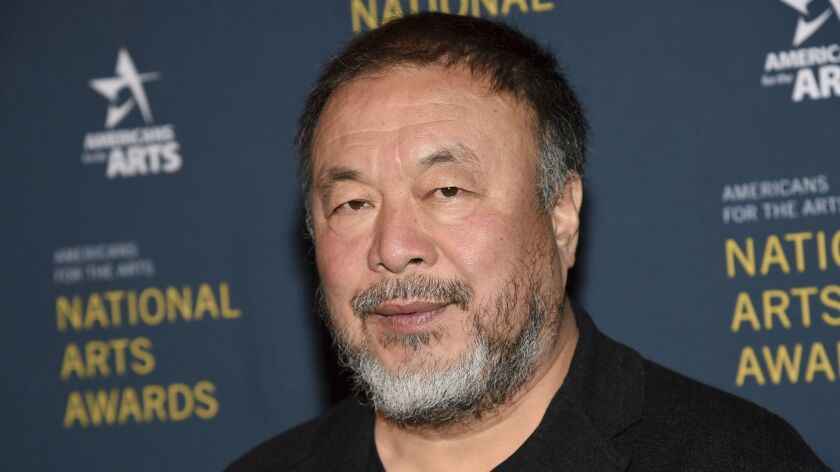 Ai Weiwei at the National Arts Awards in New York on Oct. 22, 2018.