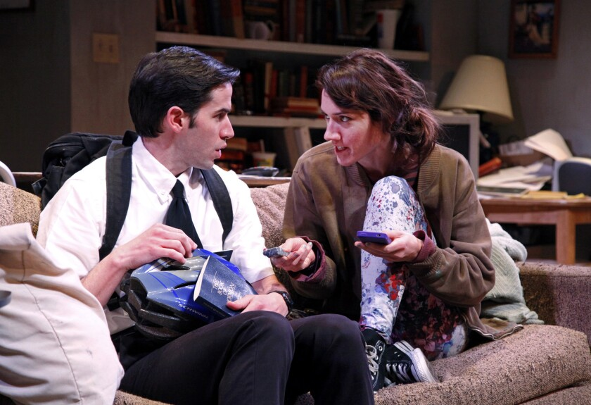 """Actors Wyatt Fenner and Helen Sadler in South Coast Repertory's """"The Whale"""" by Samuel D. Hunter."""