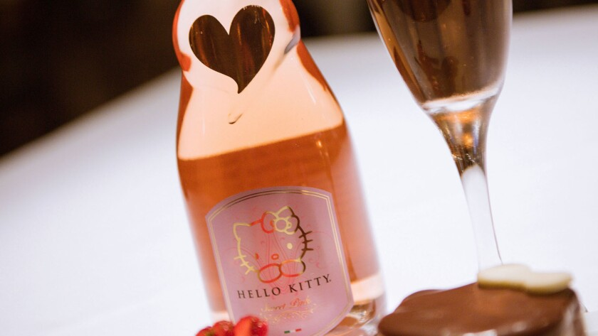 A bottle of Hello Kitty wine made by Torti Winery, available at Antonello Ristorante in Orange County.