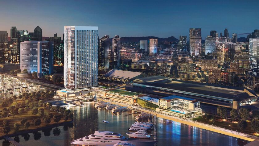 The Fifth Avenue Landing hotel would be built on the bayside of the San Diego Convention Center.