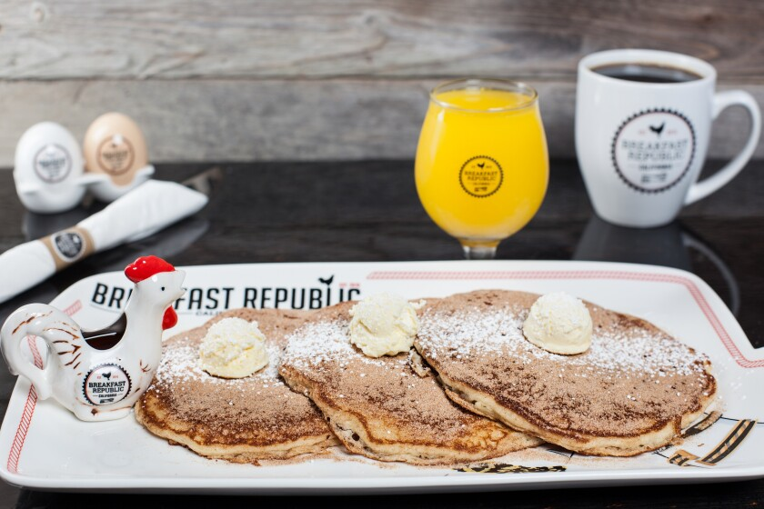 Cinnamon-sugar-dusted churro panchakes at Breakfast Republic, with multiple locations in San Diego.