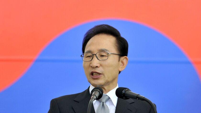 Then-South Korean President Lee Myung-bak speaks at an Armed Forces Day ceremony in September 2012.