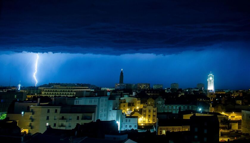 Lighting storm over Le Havre, France - 18 Jun 2019