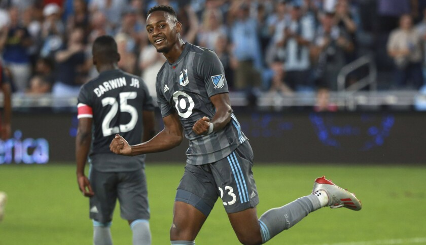 Minnesota FC forward Mason Toye, shown during a game earlier this season, scored twice against LAFC on Sunday.