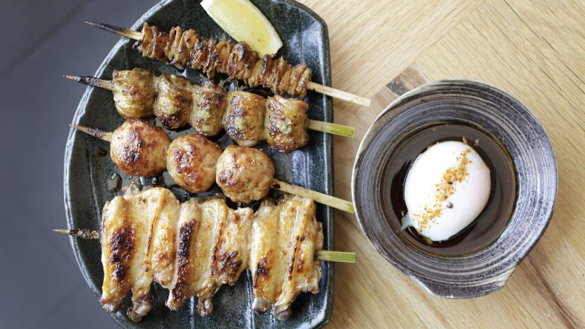 A yakitori plate with soft egg at Tsubaki in Echo Park.